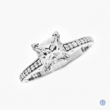 Tacori Clean crescent 18k white gold moissanite and diamond engagement ring