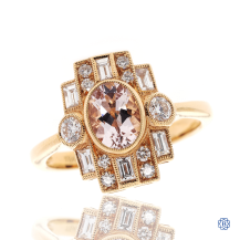 18kt Rose Gold Morganite and Diamond Ring