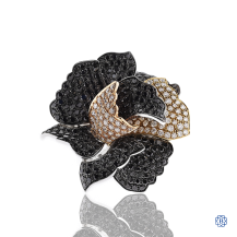 18kt White, Yellow & Rose Gold Diamond Flower Ring