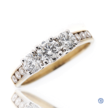 14kt Yellow and White Gold Three Stone Engagement Ring
