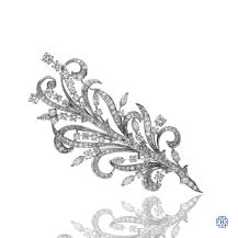 Custom Made Platinum 6.12ct Diamond Leaf Brooch