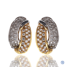 18kt Yellow and White Gold Diamond Earrings