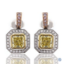 Platinum & Gold Radiant Cut Diamond Earrings