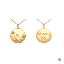 10kt yellow gold zodiac sign diamond pendant with chain
