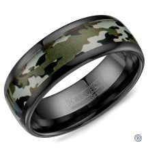 Black Ceramic with Camo Pattern Inlay Wedding Band