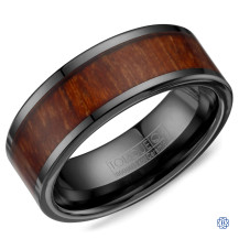 Black Ceramic with Wood Pattern Inlay Wedding Band