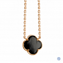 18kt Gold Black Onyx Clover Necklace