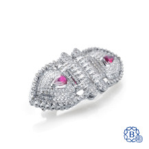 18kt white gold diamond and ruby brooch