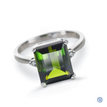 14kt white gold tourmaline and diamond ring
