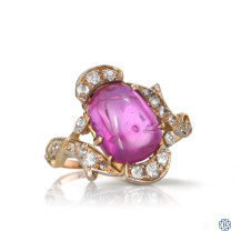 14-18kt yellow and white gold, diamond and ruby ring