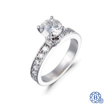 14kt white gold moissanite and diamond engagement ring