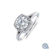 platinum moissanite and diamond engagement ring