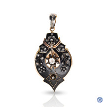 Custom made 18kt yellow gold antique mourning brooch/pendant