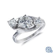 18kt white gold 3 stone diamond engagement ring