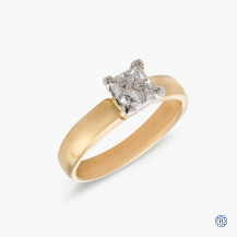 14kt yellow gold 0.81ct maple leaf diamond engagement ring