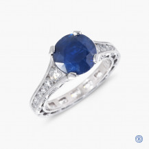 Tacori Reverse Crescent platinum sapphire and diamond engagement ring