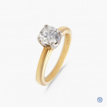 14k yellow and white gold 1.03ct diamond solitaire ring