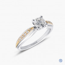 18kt white and yellow gold 0.70ct Maple Leaf Diamond Engagement Ring