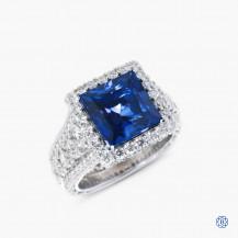 Platinum Tacori synthetic sapphire and diamond engagement ring
