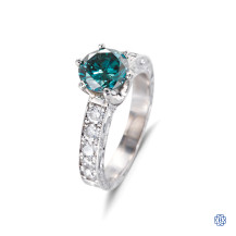 18kt white gold blue and white diamond ring