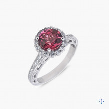 Platinum Tacori Reverse Crescent tourmaline and diamond engagement ring