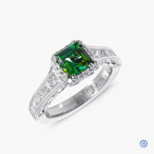 Tacori Reverse Crescent 18k white gold tourmaline and diamond engagement ring