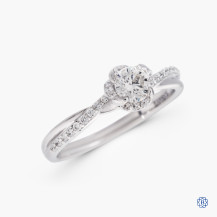 18kt white gold 0.30ct maple leaf diamonds engagement ring