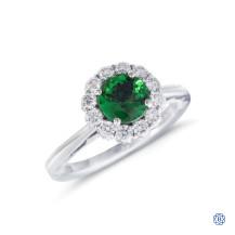 Tacori Full Bloom 18kt white gold tsavorite and diamond engagement ring