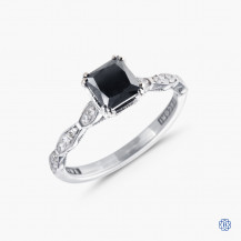 Tacori Sculpted Crescent 18k white gold 0.82ct black diamond engagement ring