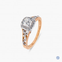 Maple Leaf 18k rose and white gold diamond engagement ring