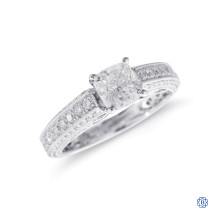 14kt White Gold 1.01ct Maple Leaf Diamond Engagement Ring