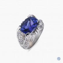 Custom 18kt Tanzanite Diamond Ring