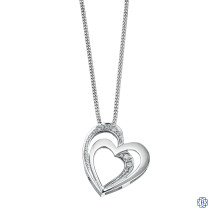 10kt White Gold Hearts Diamond Pendant with Chain