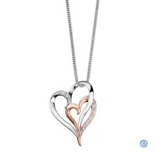 10kt White and Rose Gold Duo Heart Diamond Pendant with Chain