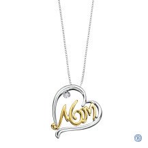 Silver and 10kt White Gold Diamond Mom Pendant with Chain