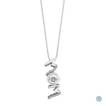 Silver Diamond Mom Drop Pendant with Chain