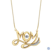 Yellow and White Gold Mom with Diamonds Pendant with Chain
