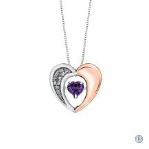 10kt Rose Gold & Sterling Silver Diamond Amethyst Heart Necklace
