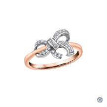 10kt Rose Gold Diamond Bow Ring