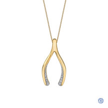 10kt Yellow Gold Wishbone Diamond Necklace