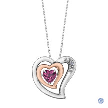 Silver and 10kt Rose Gold Diamond and Pink Topaz Heart Pendant with Chain