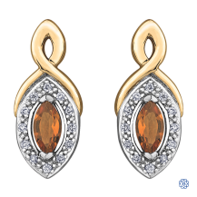 10kt Yellow Gold Citrine and Diamond Earrings