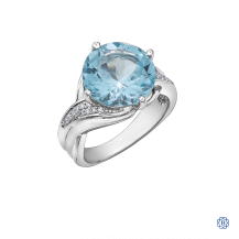 10kt White Gold Sky Blue Topaz and Diamond Ring