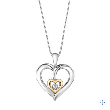 Silver and 10kt Gold Diamond Heart Pendant with Chain