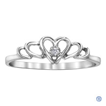 10kt White Gold Hearts Diamond Ring