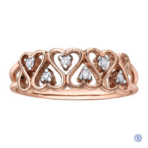 10kt Rose Gold Hearts with Diamonds Ring