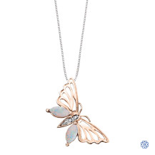 Rose Gold and Opals Butterfly Pendant with Chain