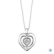 Silver Heart Diamond Pendant with Chain