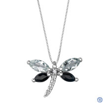 10kt White Gold Topaz, Sapphire and Diamond Dragonfly Pendant with Chain