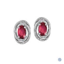 Sterling Silver Diamond & Ruby Earrings
